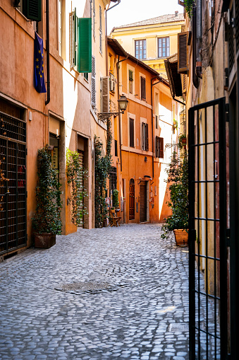 A lovely and ancient alley in the Jewish Quarter of Rome (Roman Ghetto). This iconic quarter of Rome, the oldest Ghetto in Europe, is constantly visited by tourists due to the presence of hidden alleys and small squares, where it is easy to find restaurants of Italian and Jewish cuisine and notable Roman archaeological remains. Image in High Definition format.