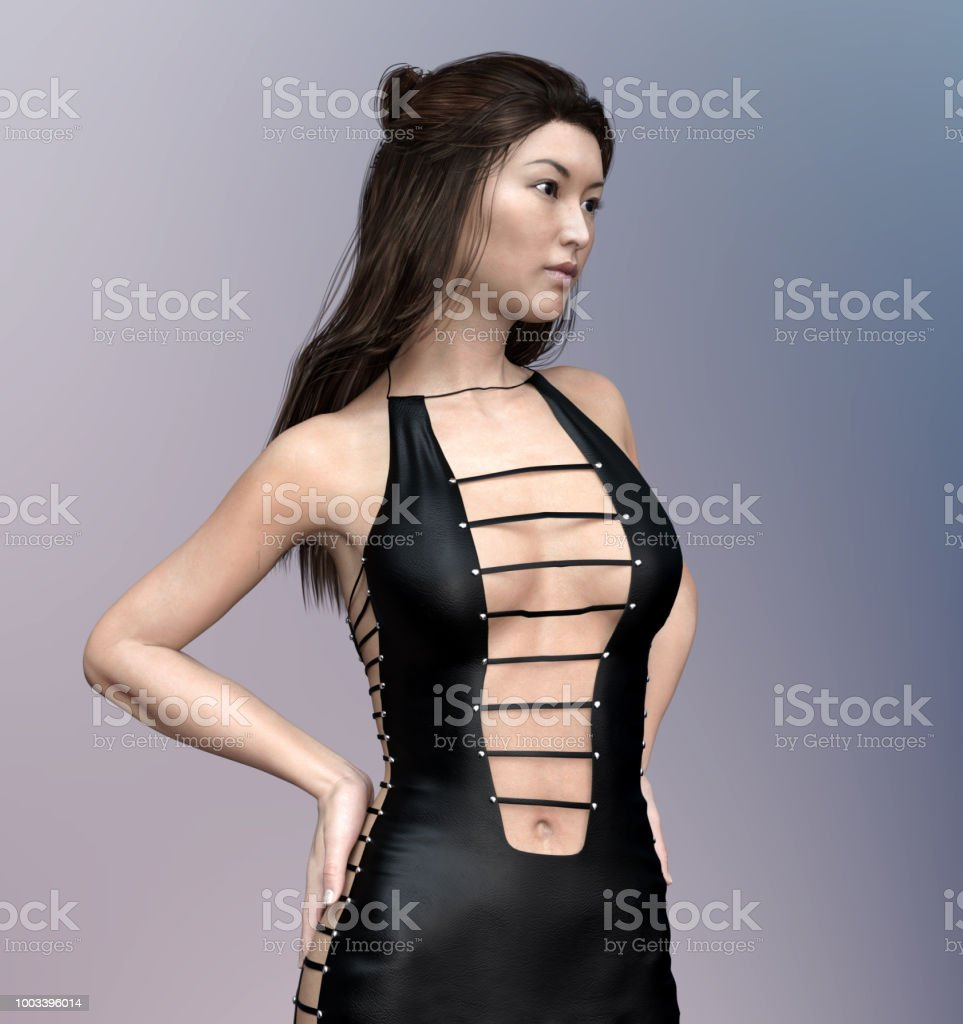 6245d1a131d Lovely Asian Woman In Sexy Leather Dress Stock Photo - Download ...