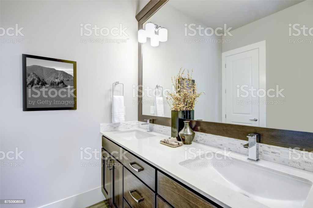 Lovely Bathroom With Dark Brown Vanity Cabinet Stock Photo Download Image Now Istock