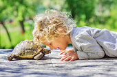 lovely boy with turtle