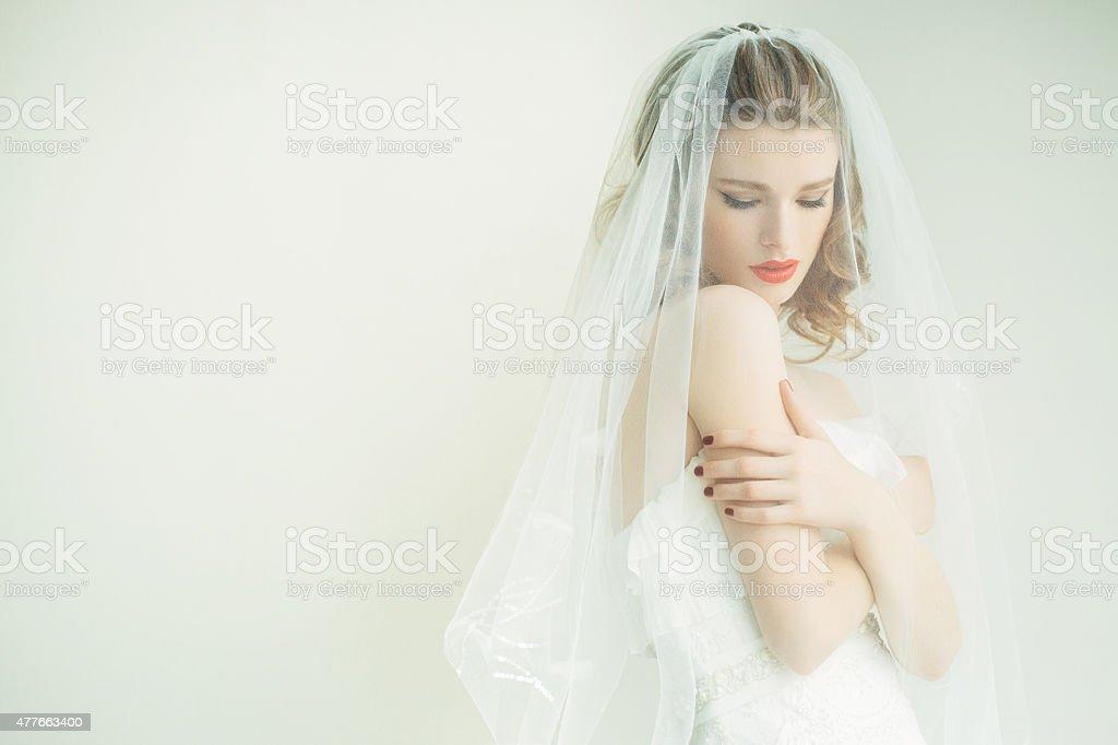 Lovely bride wearing veil stock photo