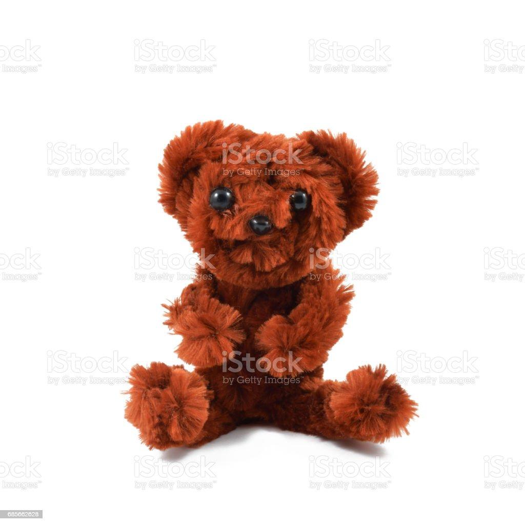 흰색 배경, 고립 된 개체에 사랑 스러운 갈색 곰 인형 royalty-free 스톡 사진
