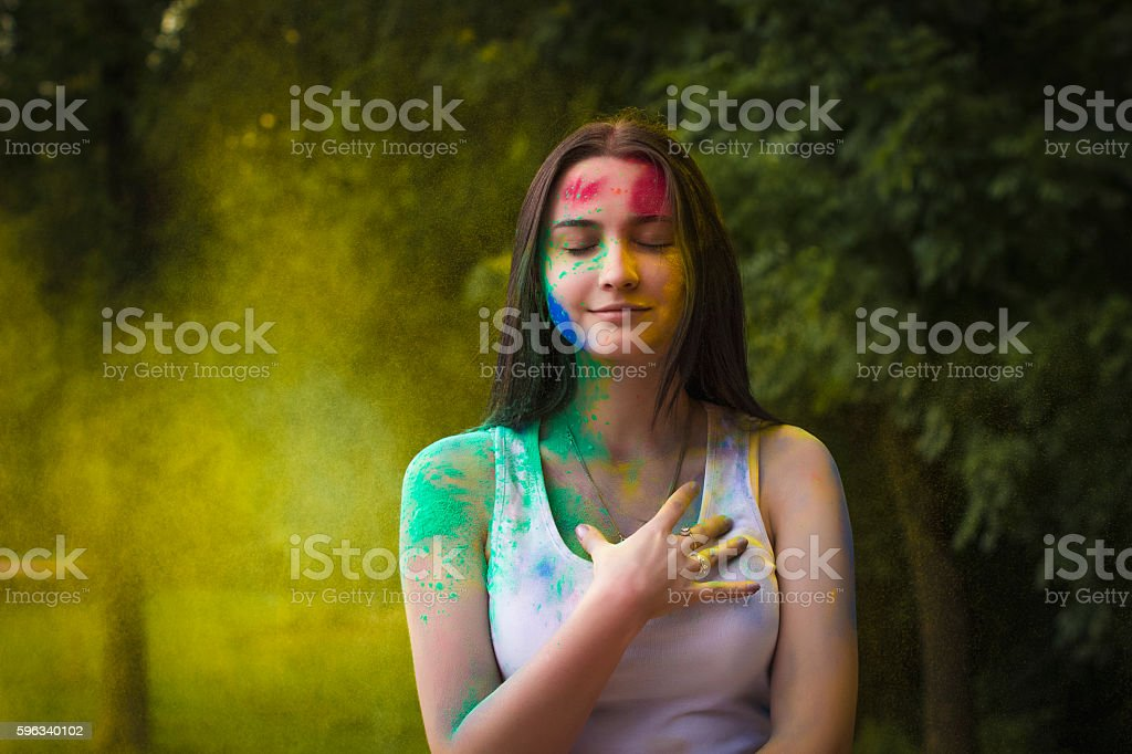 Lovely brunette woman  with dry powder on her face royalty-free stock photo
