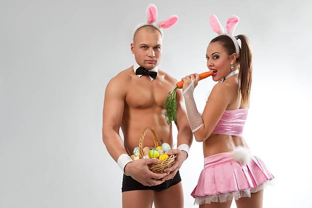 Encantadora pareja de conejito - foto de stock