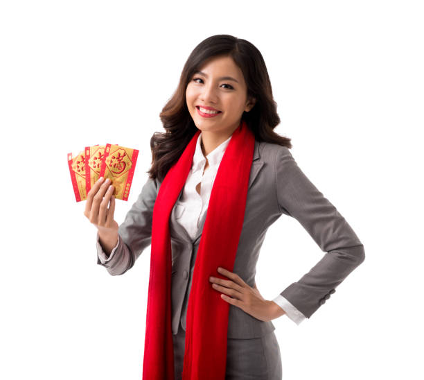 Lovely business lady wishing you happy New Year stock photo