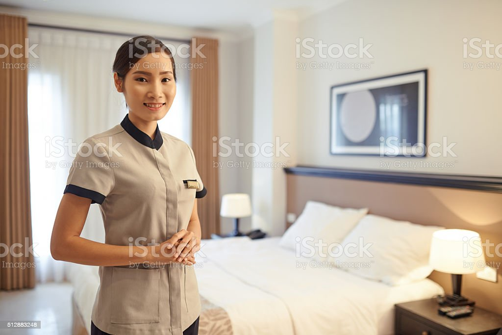 Lovely chambermaid stock photo
