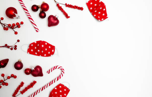 Lovely Christmas background banner with face masks, candy cane and christmas ornaments on white background stock photo