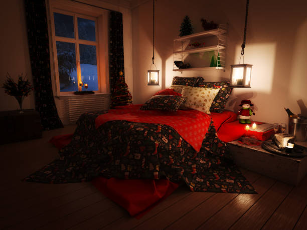 chambre à coucher belle de noël - pénombre photos et images de collection