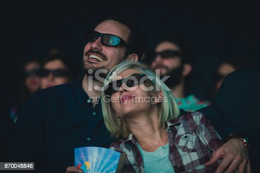 187095683 istock photo Lovely couple at the cinema and 3d movie projection 870048846