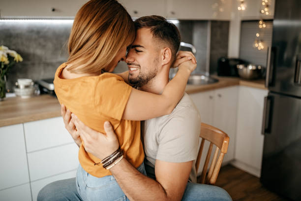 Lovely couple having their moment stock photo