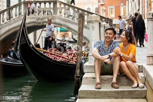Lovely couple in Venice honeymoon, Italy in summer.