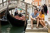 Lovely couple in Venice honeymoon, Italy in summer.