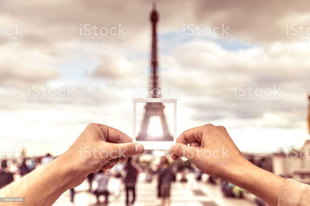 Lovely couple spending some days in vacation to Paris stock photo