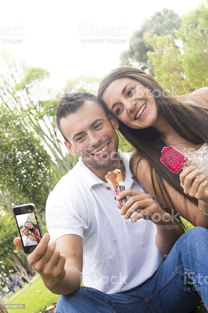 Lovely couple taking a self portrait royalty-free stock photo