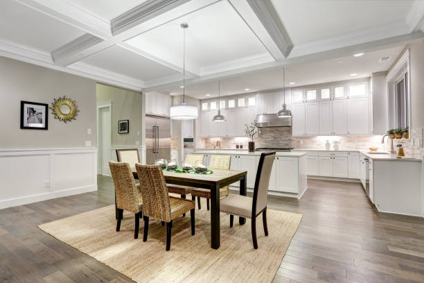 lovely craftsman style dining space with coffered cealing - sisal stock pictures, royalty-free photos & images