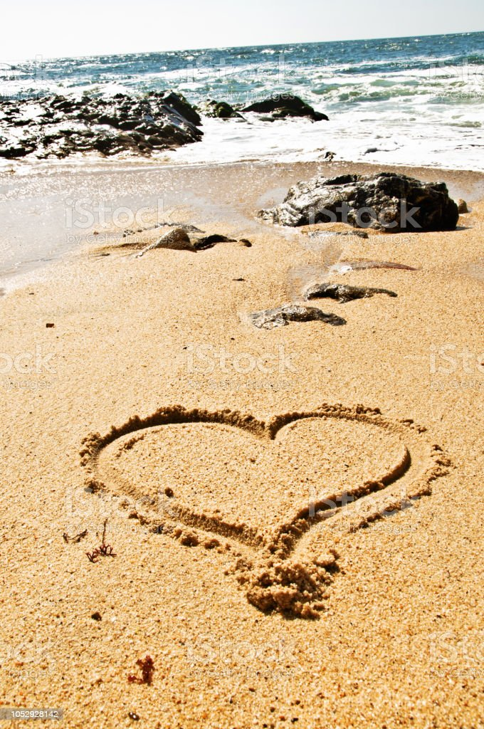 Beautiful Day By The Seaside - Heart Shape On Sand