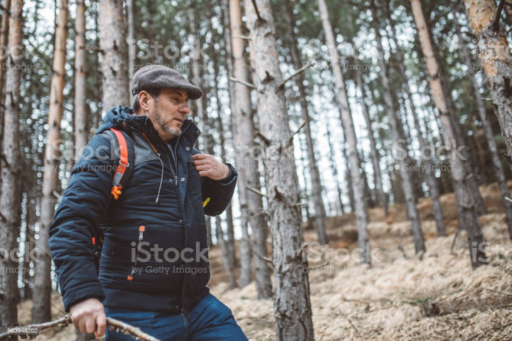 One man, mature hiker taking a walk through the forest on mountain.