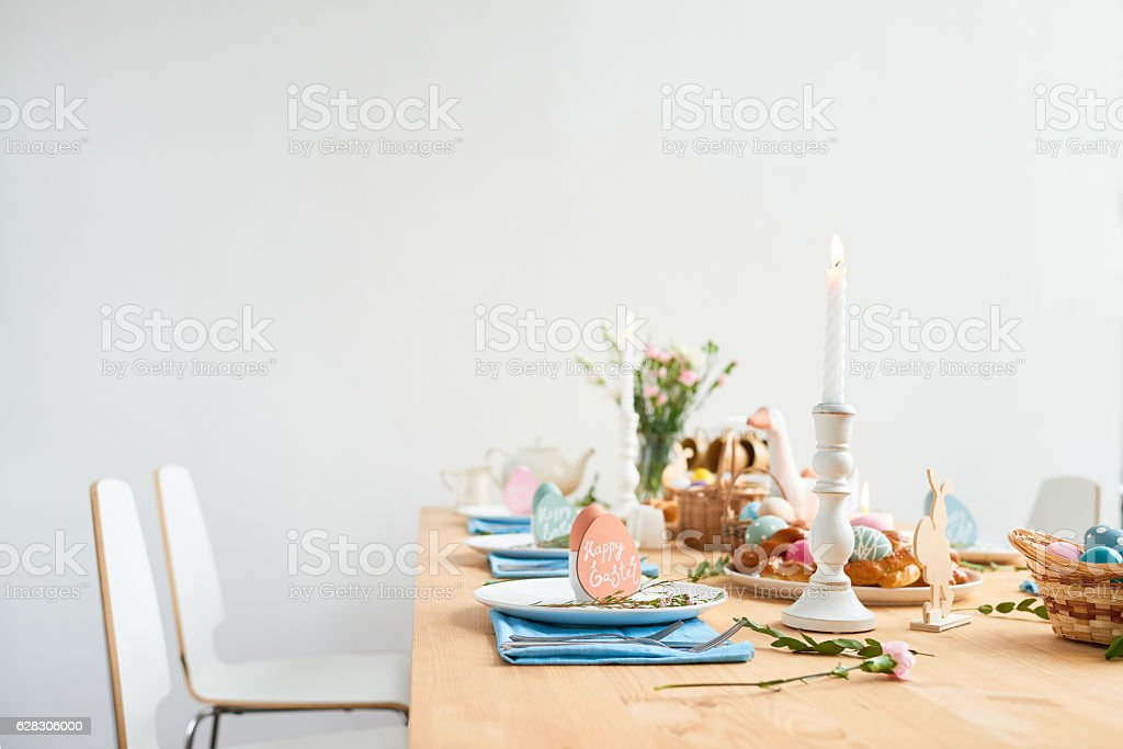 Lovely decorated Easter table stock photo