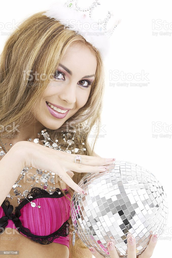 lovely fairy in crown with disco ball royalty-free stock photo