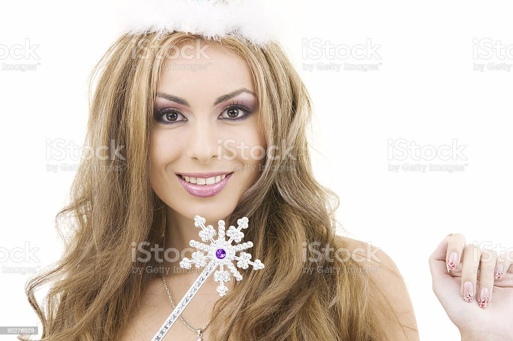 lovely fairy in crown with magic wand royalty-free stock photo