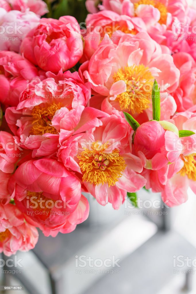 Lovely Flowers In Glass Vase Beautiful Bouquet Of Peonies