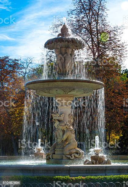 Photo of Lovely fountain in the city of Madrid's Retiro park.