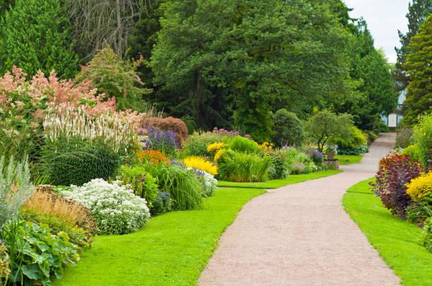 прекрасный сад с тропа. - клумба стоковые фото и изображения