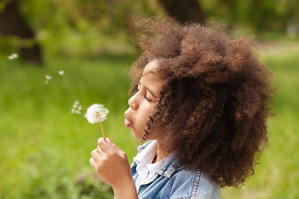lovely girl blowing on a dandelion - blowing stock photos and pictures