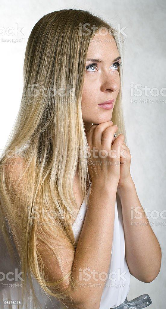 lovely girl in white dress royalty-free stock photo