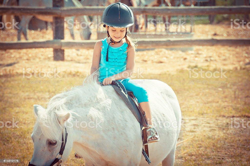 Lovely girl on a horse.  Litlle girl riding stock photo