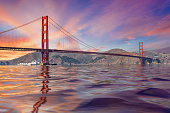 Lovely Golden Gate Bridge Panoramic Photo at Sunset with Great Sky