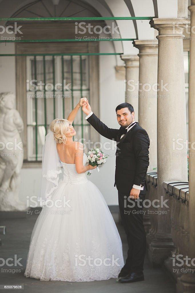 Piękny szczęśliwy wesele para, Panna młoda z długa biała sukienka pozujący zbiór zdjęć royalty-free