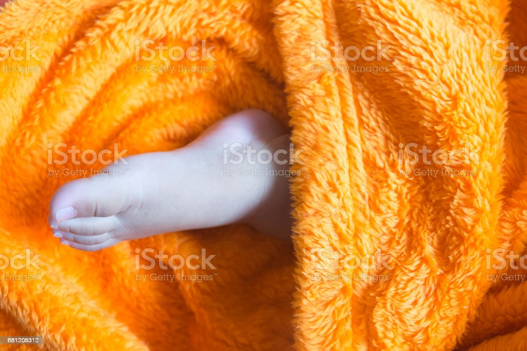 Lovely infant foot in orange blanket royalty-free stock photo