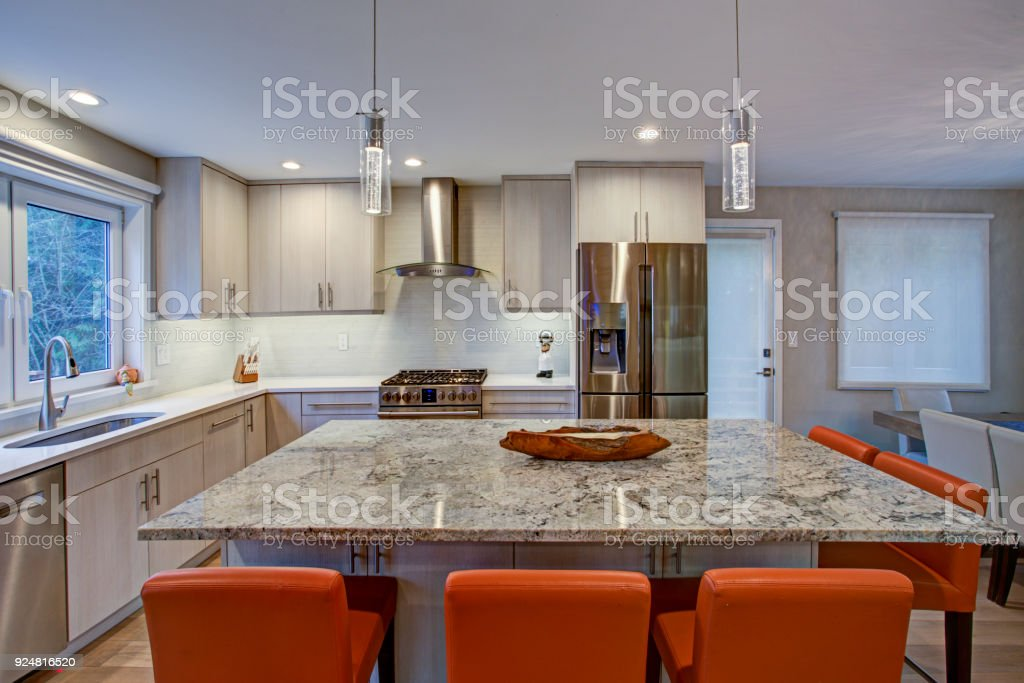 Lovely Kitchen Room With Kitchen Island Stock Photo Download Image Now Istock