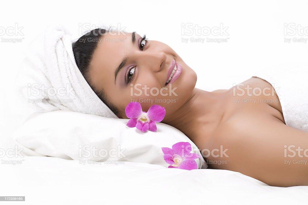 Lovely lady in massage salon royalty-free stock photo