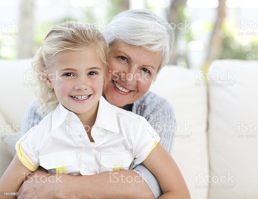 Lovely little girl with her grandmother royalty-free stock photo