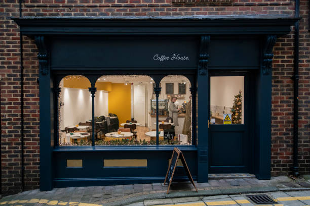Lovely Little Independent Coffee Shop A front view of the facade of a small business in North East England facade stock pictures, royalty-free photos & images