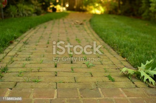 Lovely Long Winding Brick Pathway Entering Garden Front Yard House