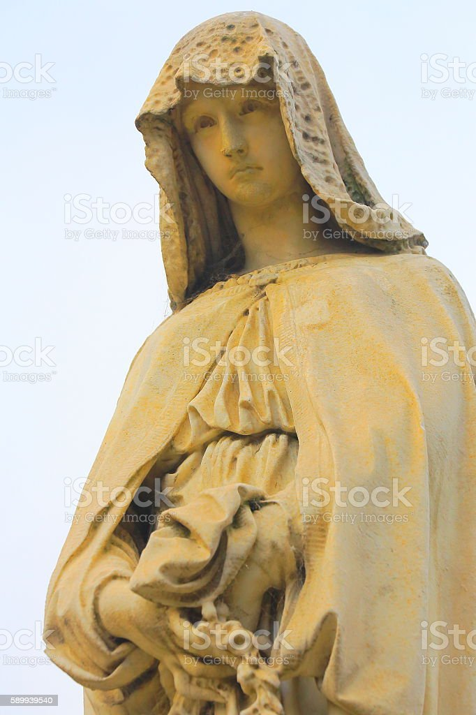 Lovely Madonna Angel peaceful contemplation, Recoleta Cemetery stock photo