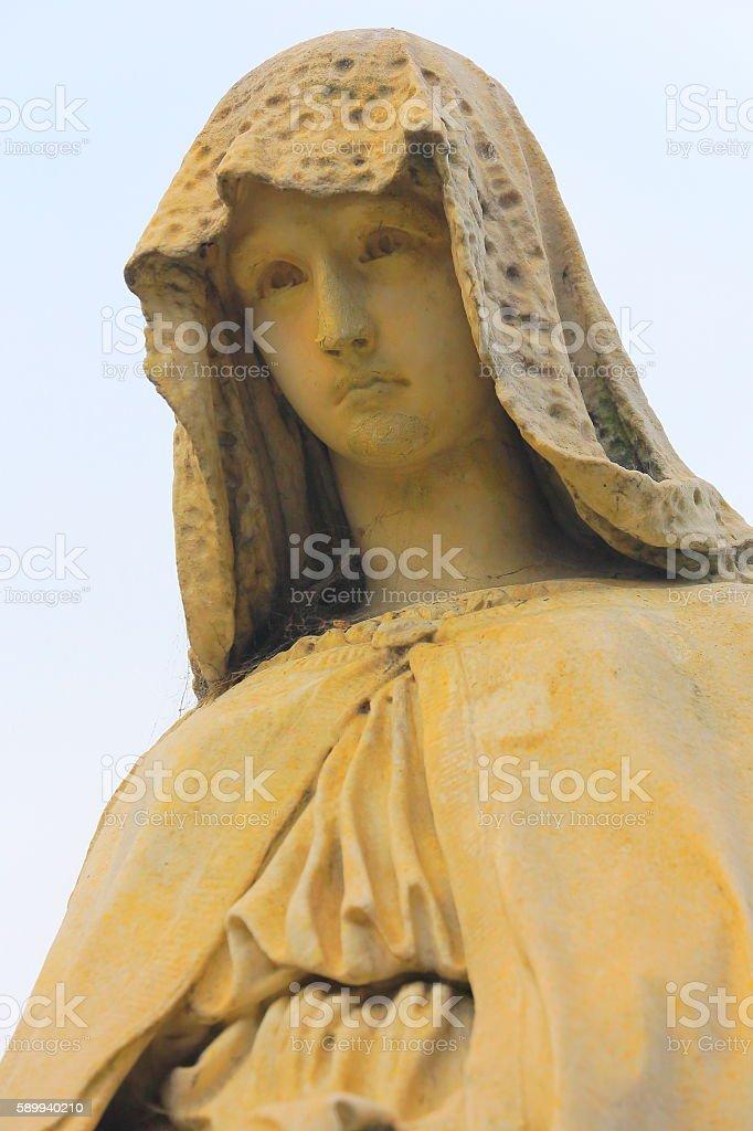 Lovely Madonna Angel peaceful facial contemplation, Recoleta Cemetery stock photo