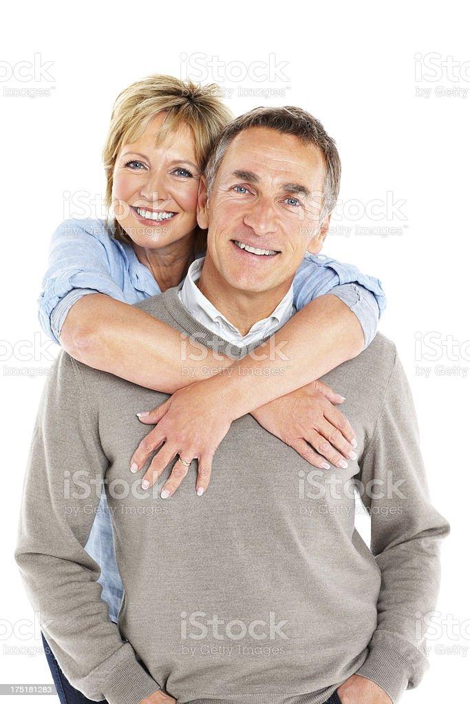 Lovely mature couple on white background royalty-free stock photo