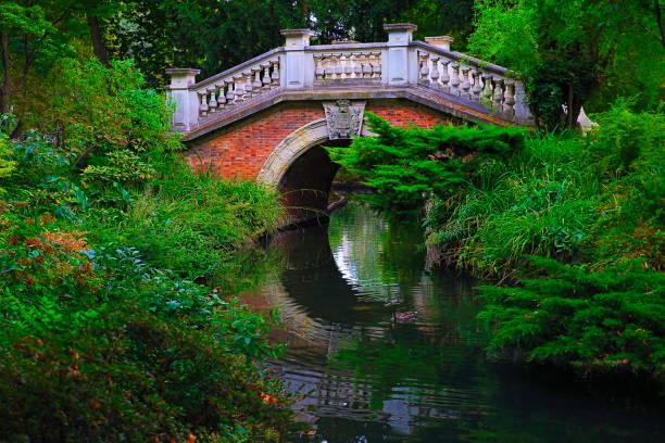 schöne mini brücke über kanal im öffentlichen park monceau-paris, frankreich - der geheime garten stock-fotos und bilder