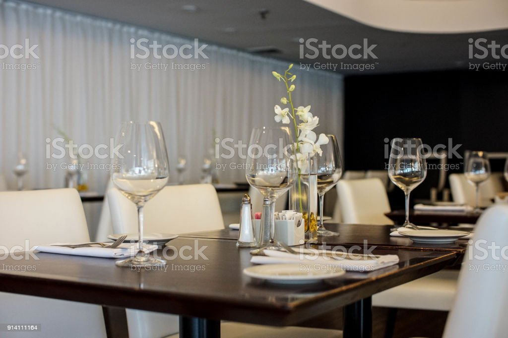 Lovely Minimalistic Table Setting In A Fancy Restaurant Stock Photo Download Image Now Istock
