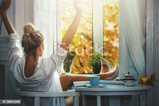istock Lovely morning after crazy night out. 613664356