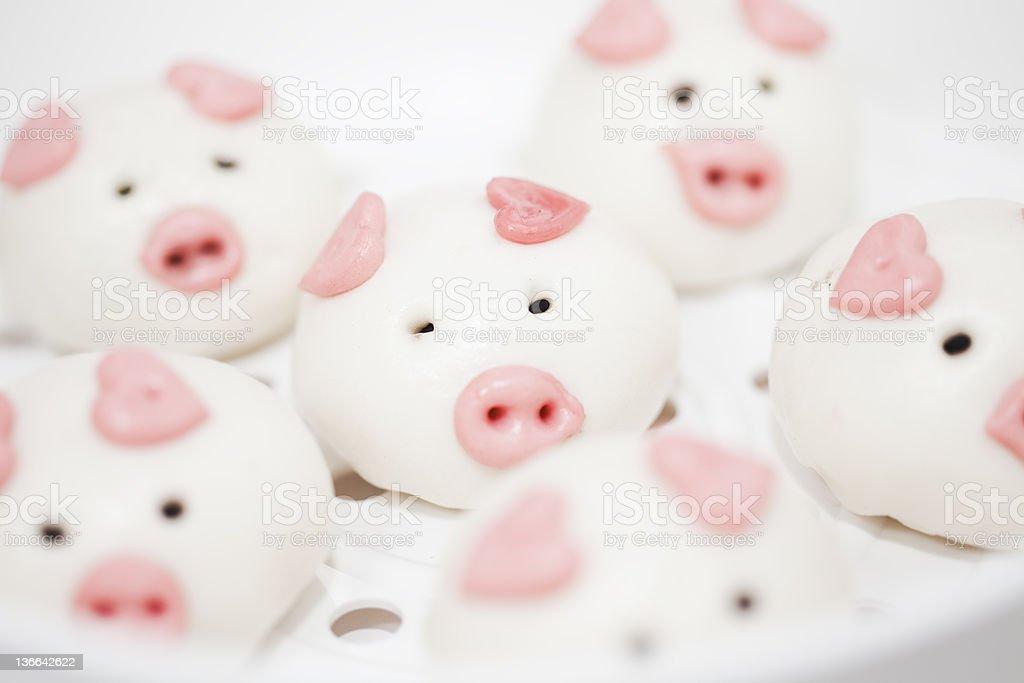 lovely pig buns stock photo