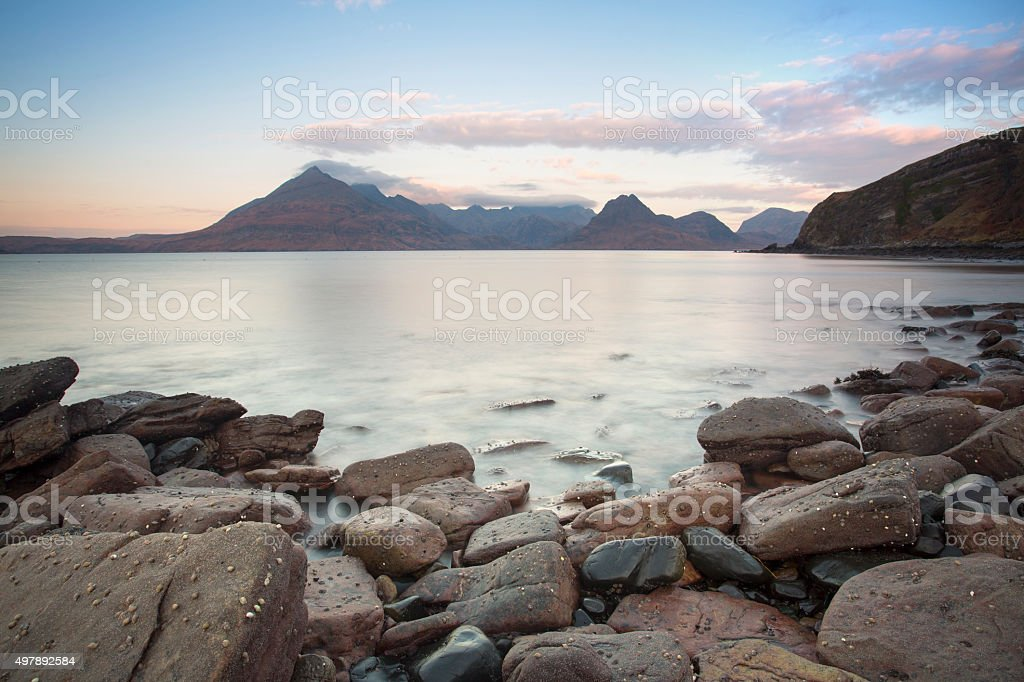 lovely rocky coastline in scotland stock photo