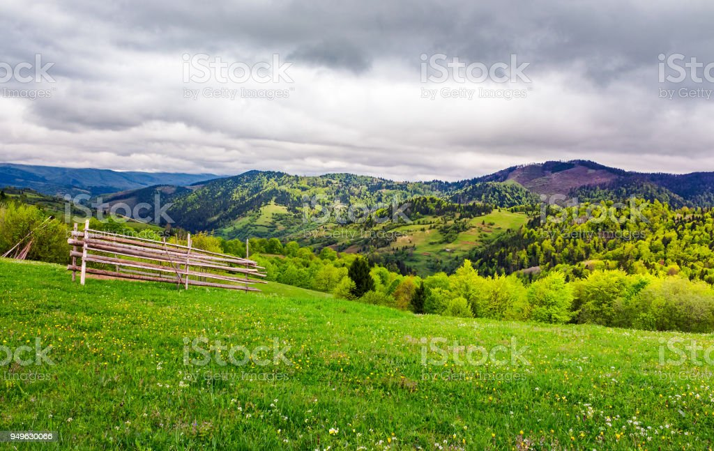 lovely rural scenery of Carpathians stock photo