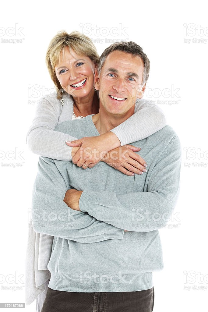 Lovely senior couple together on white stock photo
