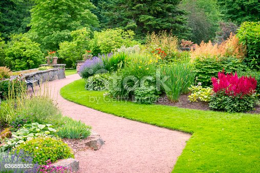 Beautiful garden with colorful flowerbeds. This photo is taken in Gothenburg botanical garden. This is a public park in central Gothenburg with free entrance.