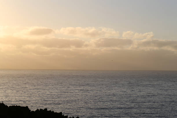 Lovely Sunset Over the Sea in Madeira - Colorful Sky in Gold & Pastels, Some Clouds and Calm Sea stock photo